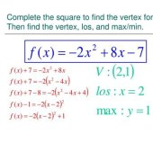 Writing Quadratic Equations In Vertex Form By Completing The Square Worksheet